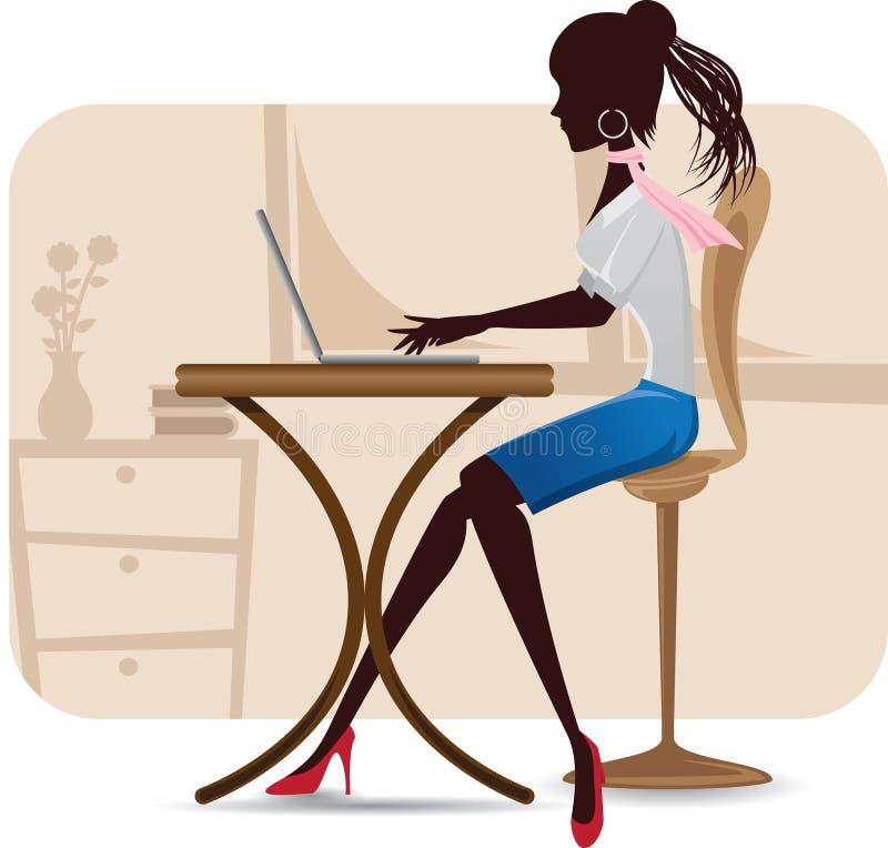 Sylwetka kobieta pracująca z laptopem ilustracja wektor