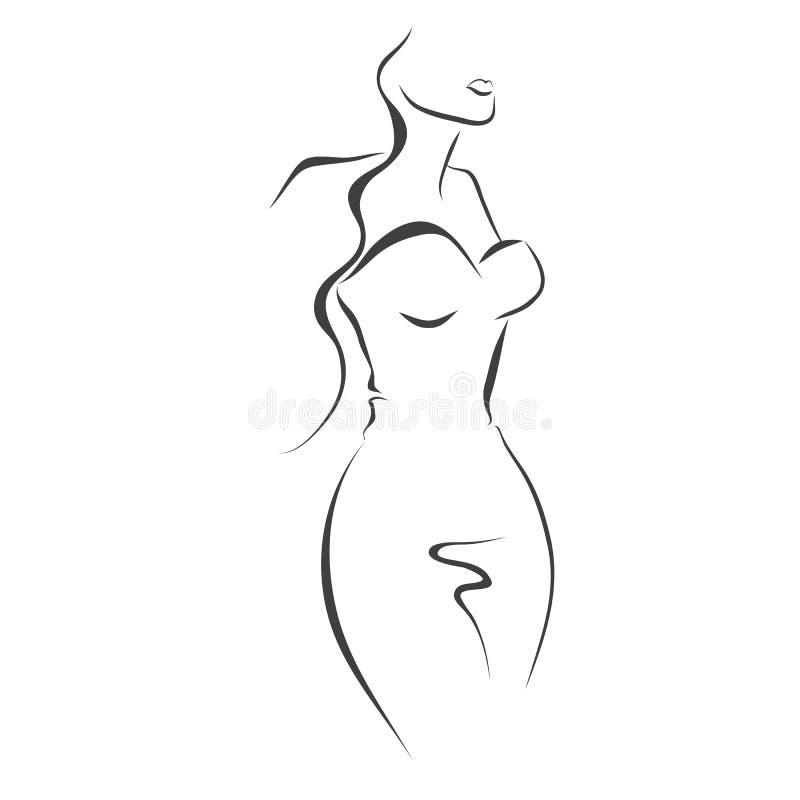 Sylwetka kobieta w sukni ilustracji