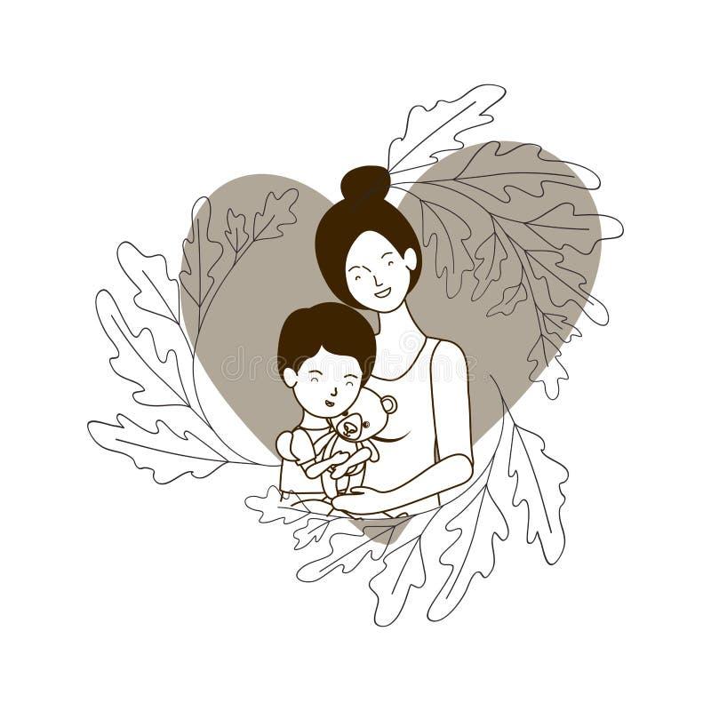 Sylwetka kobieta z dziecka avatar charakterem royalty ilustracja