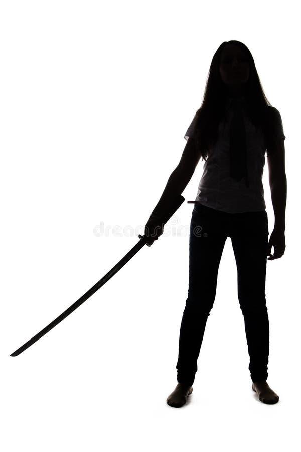 Sylwetka kobieta z kordzikiem obrazy stock