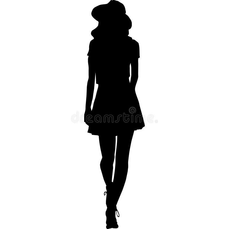 Sylwetka kobiety czarny i biały wektorowa ilustracja zdjęcia stock