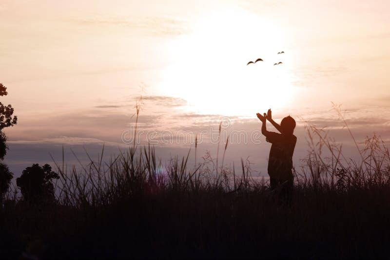 Sylwetka kobiety pozuje rękę i pokazuje w kształcie ptak na niebie w zmierzchu, pojęcie jako główkowanie, wolność, bezpłatny życi obrazy stock
