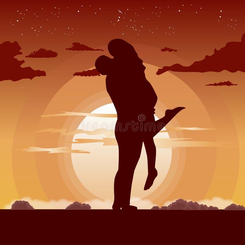 Sylwetka kochająca para w uściśnięciu przy zmierzchem ilustracji