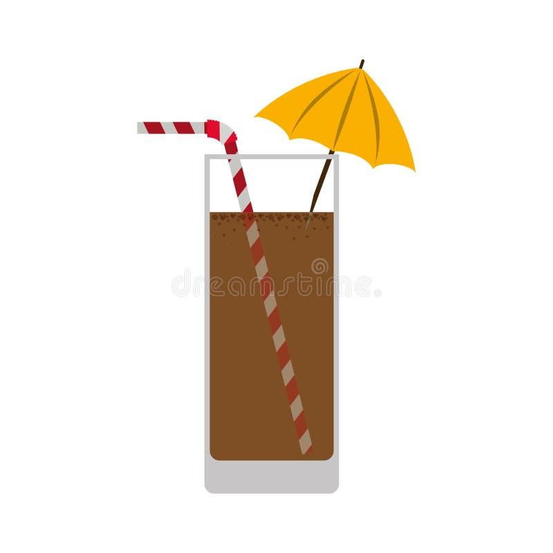 sylwetka kolorowa z czekoladowym napojem ilustracja wektor