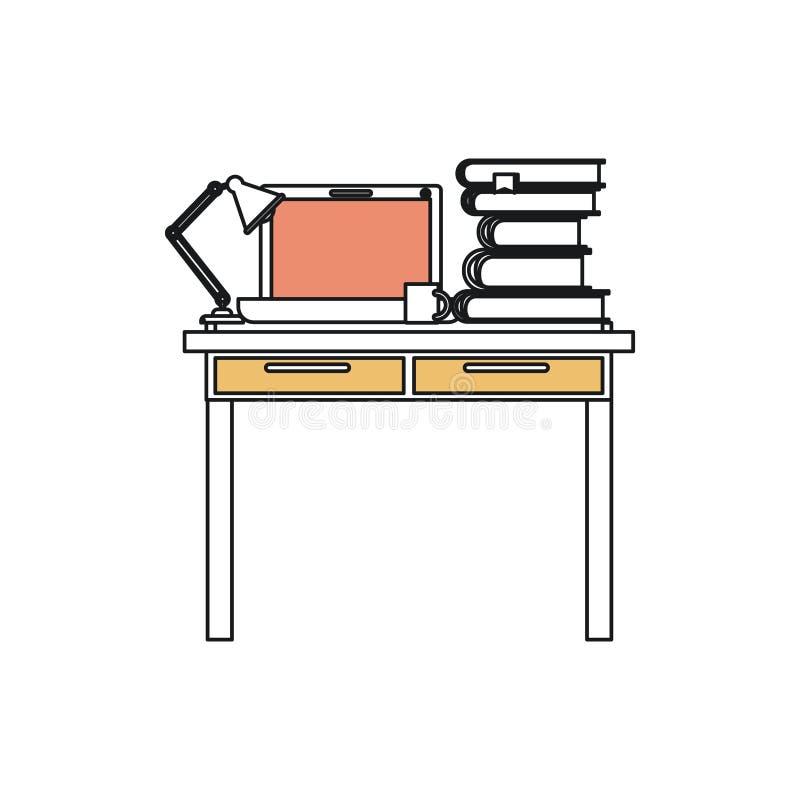 Sylwetka koloru sekcje miejsce pracy biurowy wnętrze z laptopu, lampy i sterty książkami ilustracja wektor