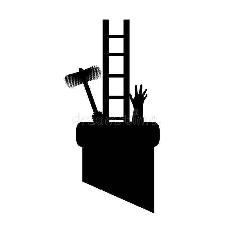Sylwetka kominowy zakres w drymbie z narzędziami dostawać pracować zablokowani i dostawać, Wektorowa ilustracja dla projektantów royalty ilustracja