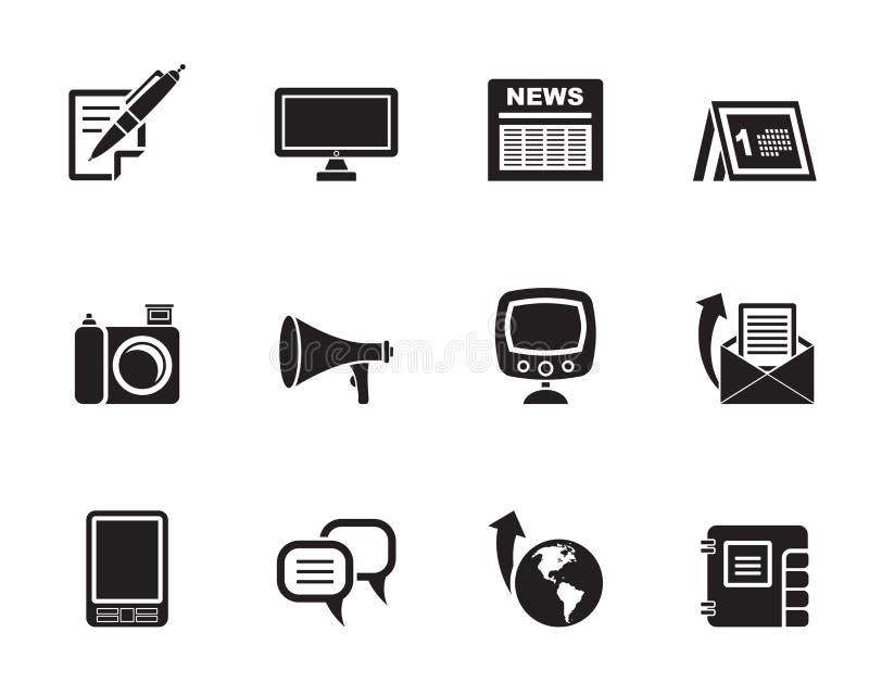 Sylwetka Komunikacyjni kanały i Ogólnospołeczne Medialne ikony royalty ilustracja