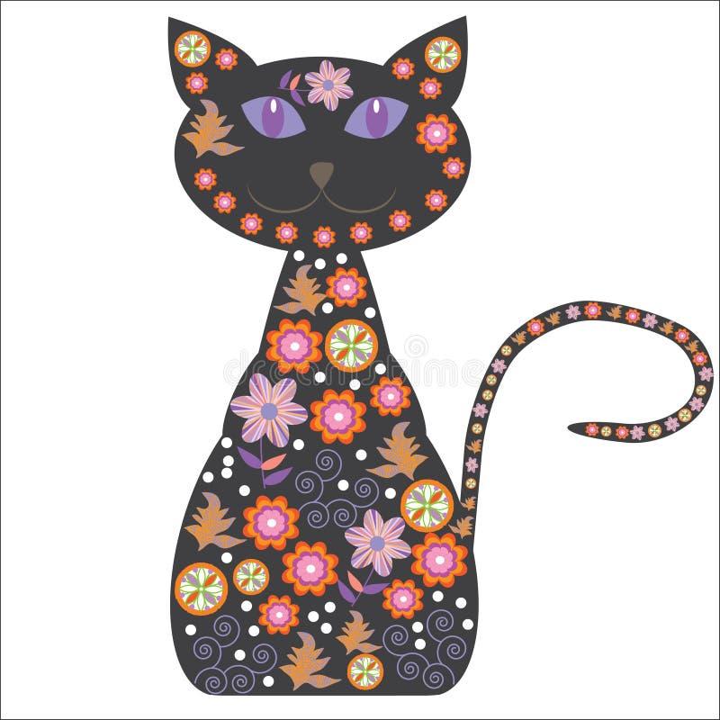 Sylwetka kot z ładnymi kwiatami na bielu ilustracja wektor