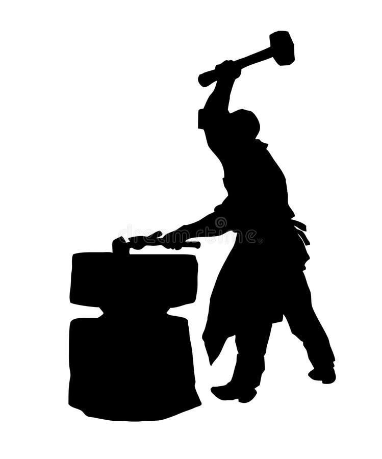 sylwetka kowal ilustracja wektor