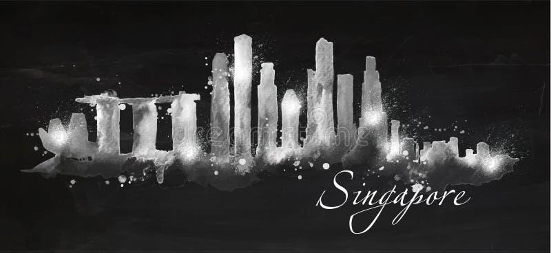 Sylwetka kredowy Singapur ilustracja wektor