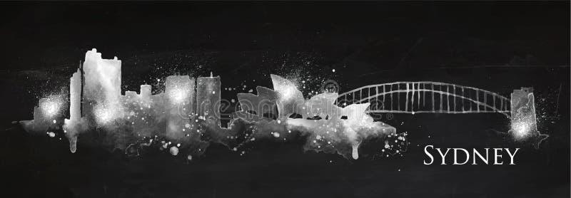 Sylwetka kredowy Sydney ilustracja wektor