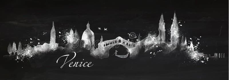 Sylwetka kredowy Wenecja ilustracji