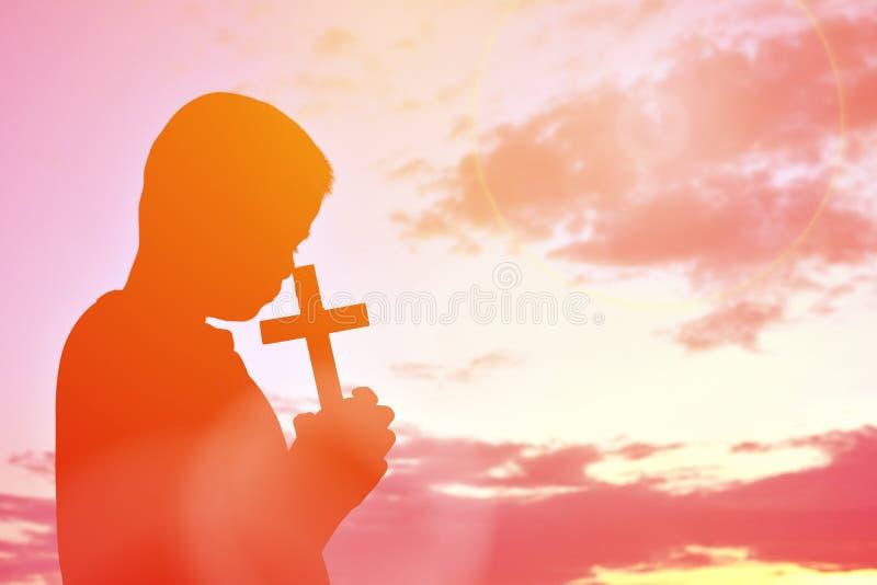 Sylwetka krzyż i Jesus ludzie obraz stock