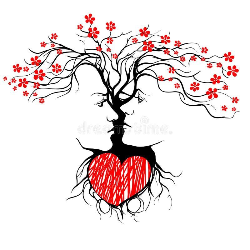 Sylwetka kształtująca drzewem całowanie para. ilustracja wektor