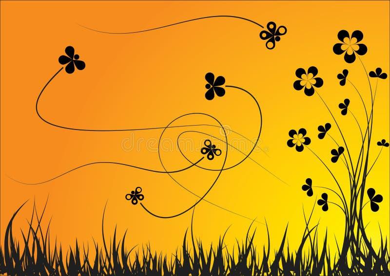 sylwetka kwiat royalty ilustracja