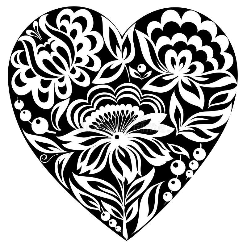 Sylwetka kwiaty na nim i serce. Czarno biały wizerunek. Stary styl royalty ilustracja