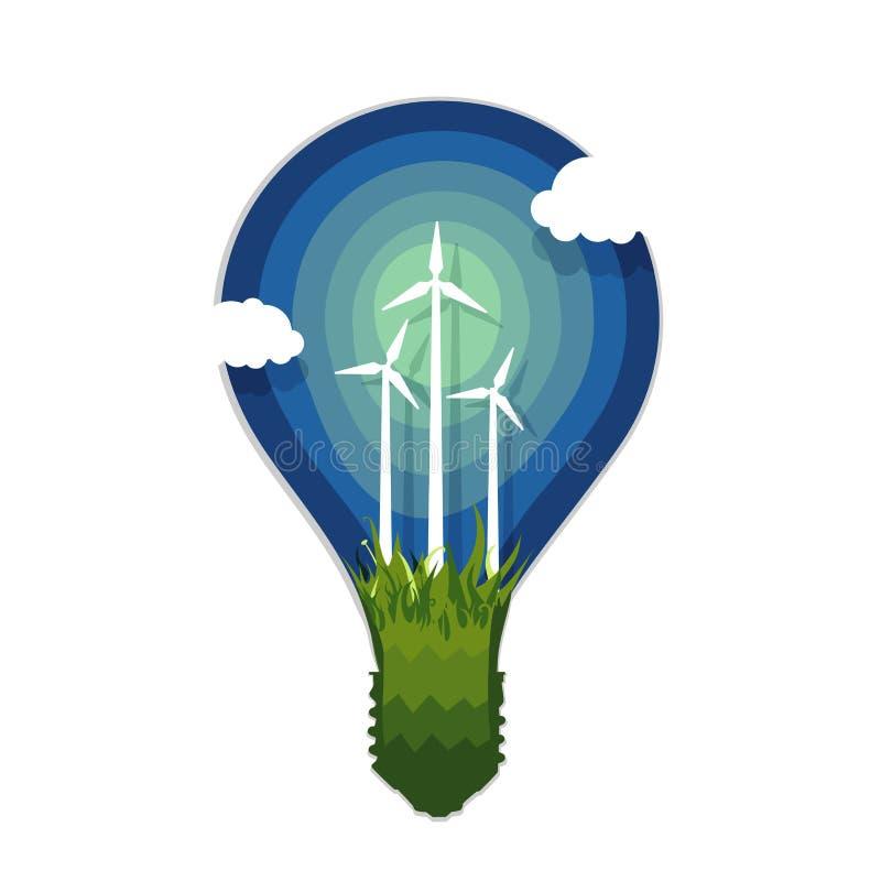 Sylwetka lampa z siły wiatru pokoleniem Zastosowanie papieru styl ilustracja wektor