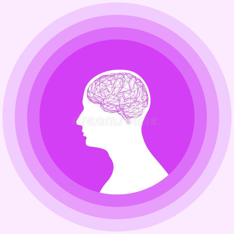 Sylwetka ludzka głowa z mózg ilustracja wektor