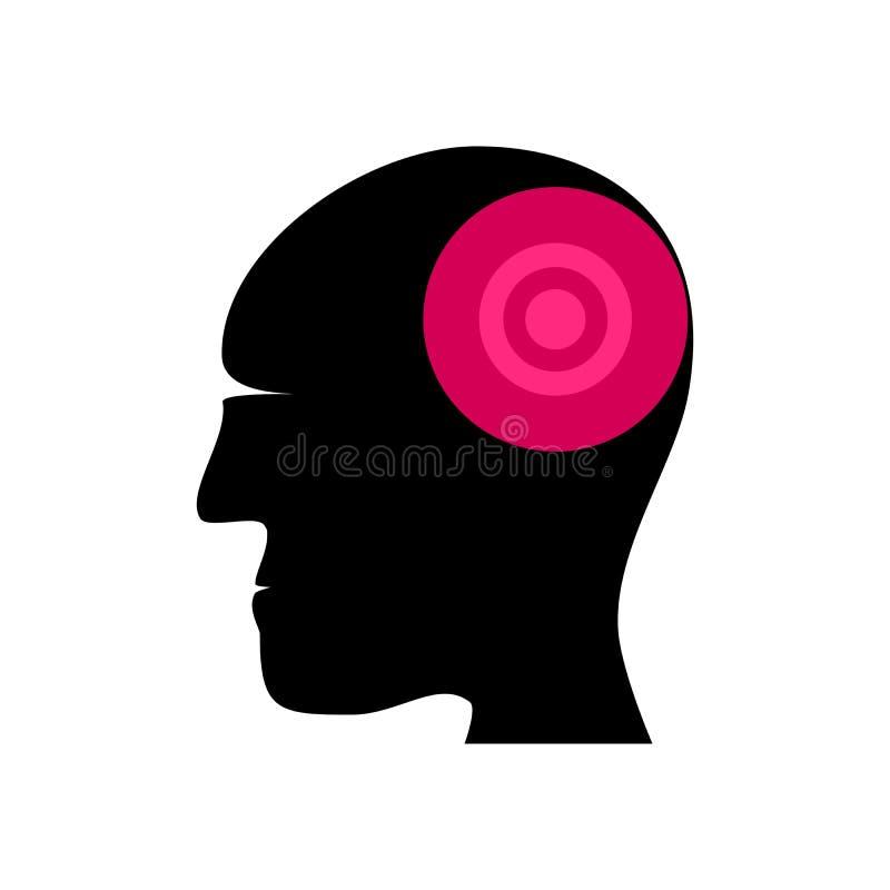 Sylwetka ludzka głowa z ocenionym bolesnym terenem ilustracji