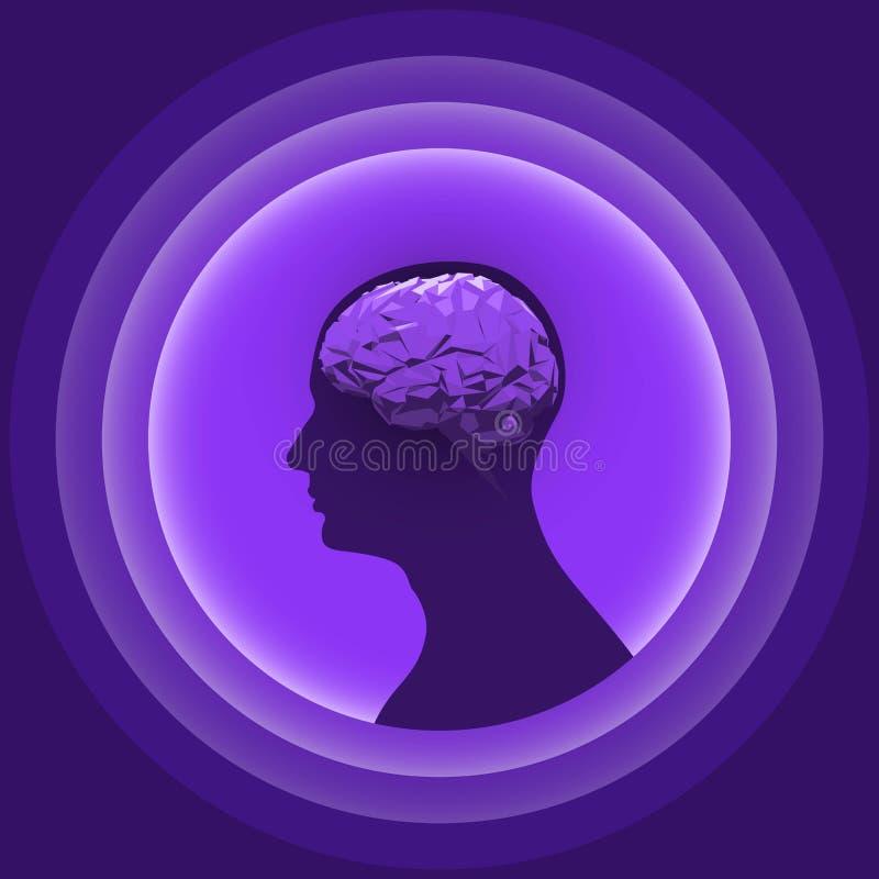 Sylwetka ludzka głowa z rozjarzonym mózg royalty ilustracja