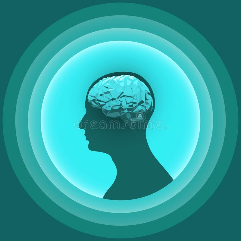 Sylwetka ludzka głowa z rozjarzonym mózg ilustracja wektor