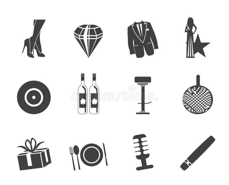 Sylwetka luksusu partyjne i recepcyjne ikony royalty ilustracja