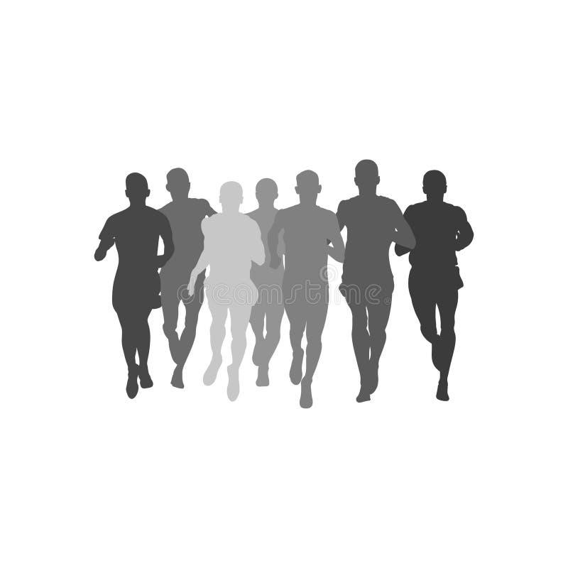 Sylwetka mężczyzn atlet grupowi biegacze ilustracja wektor