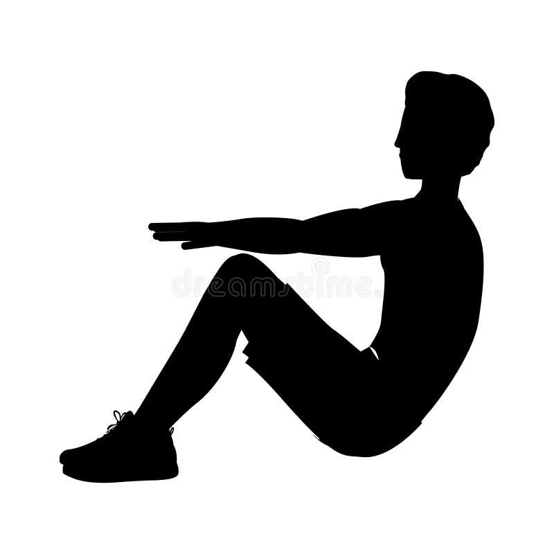 Sylwetka mężczyzna ćwiczenia abs zbierać nogi royalty ilustracja