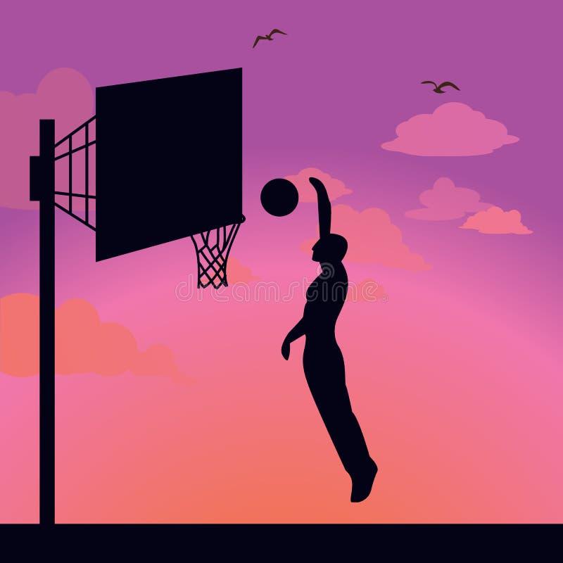 Sylwetka mężczyzna atlety gracz skacze akcja kosza piłkę ilustracja wektor