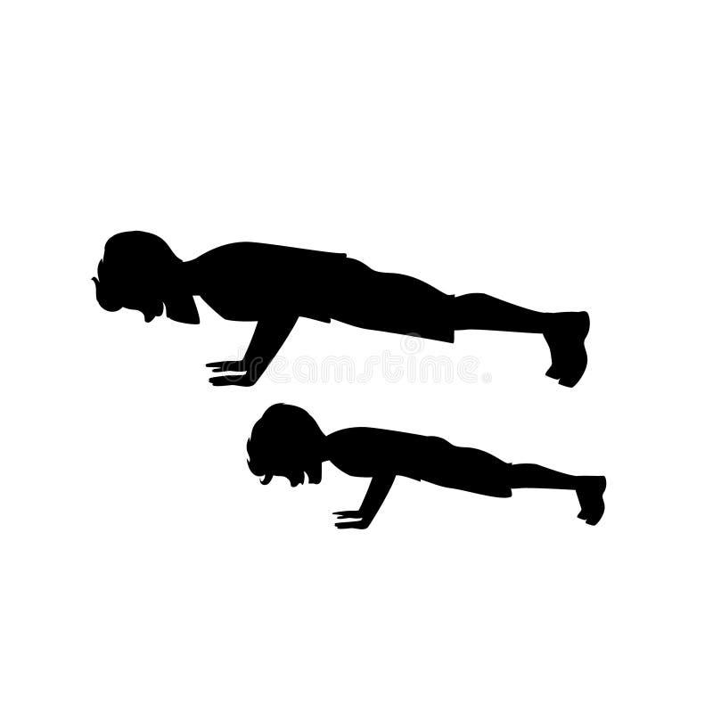 Sylwetka mężczyzna, chłopiec syn i ojciec i podnosi trening robić pcha ilustracji