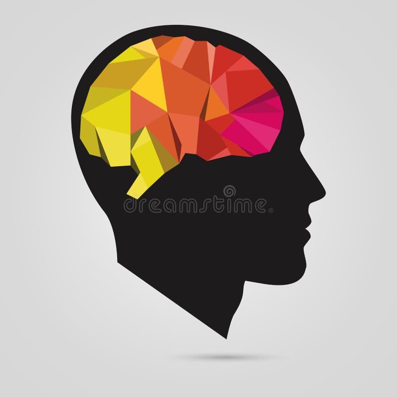 Sylwetka mężczyzna głowa z abstrakcjonistycznym mózg wektor royalty ilustracja