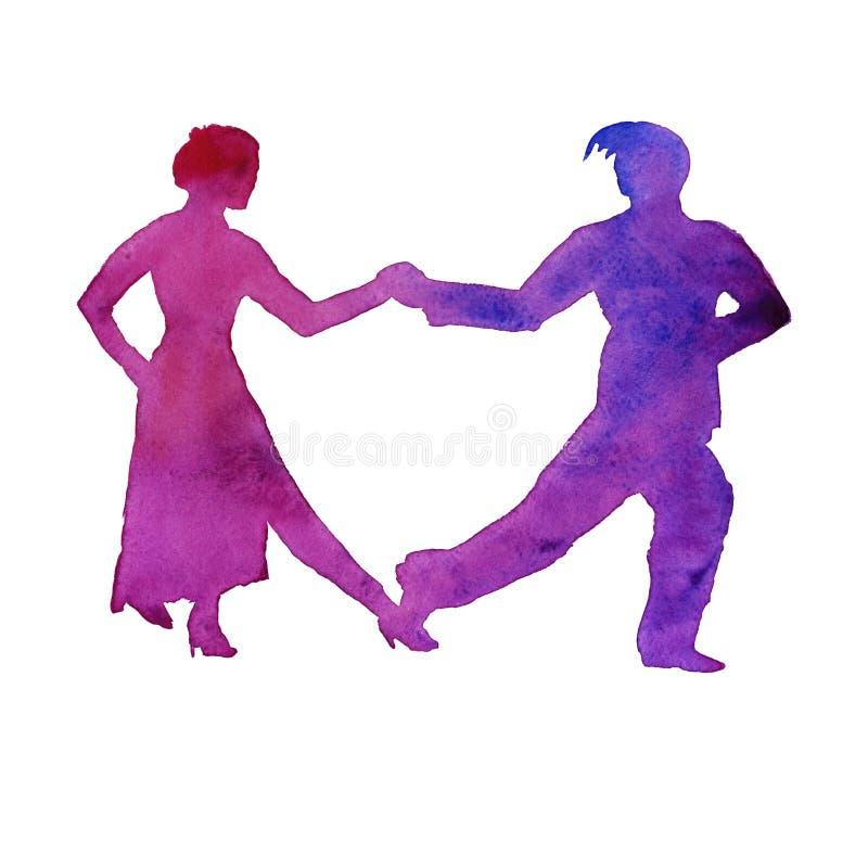 Sylwetka mężczyzna i kobiety dancingowy tango odosobniony waterco ilustracja wektor