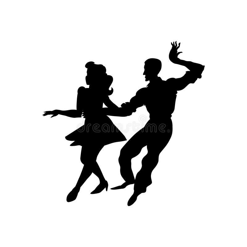 Sylwetka mężczyzna i kobiety taniec Czarny i biały wizerunek odizolowywający na białym tle również zwrócić corel ilustracji wekto royalty ilustracja