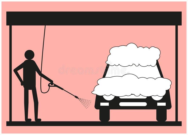 Sylwetka mężczyzna na różowym tle który myje pojazd używać ciśnieniowej płuczki, ilustracji