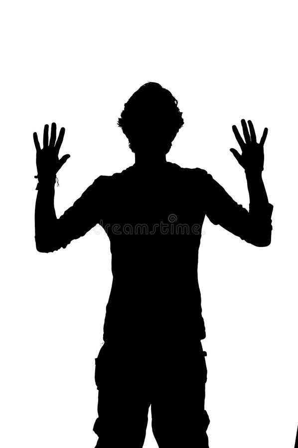 Sylwetka mężczyzna obrabowywa z rękami up ilustracja wektor