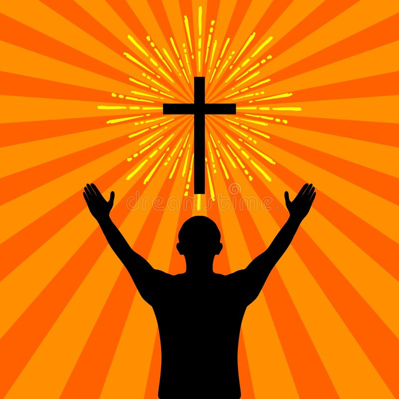 Sylwetka mężczyzna obracający bóg z modlitwą i cześć ilustracji