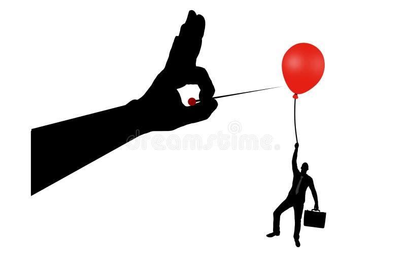Sylwetka mężczyzna przylega balon i ręka z igłą w powietrzu chce pękać je ilustracja wektor