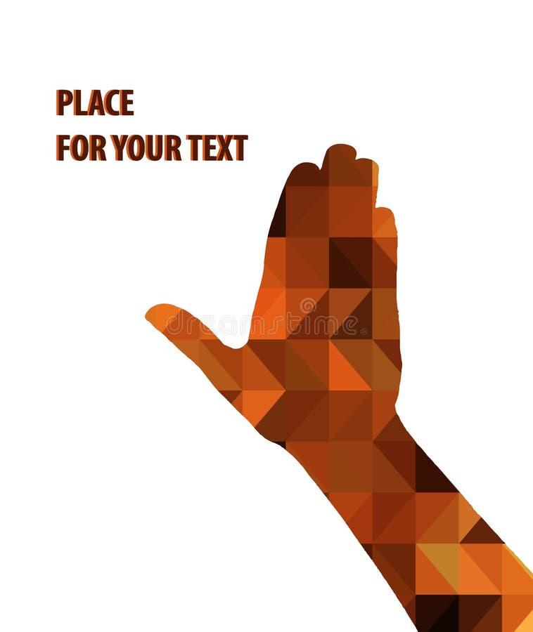 Download Sylwetka Mężczyzna Ręka Na Brown Trójbokach Ilustracja Wektor - Ilustracja złożonej z kolekcja, modniś: 53790836