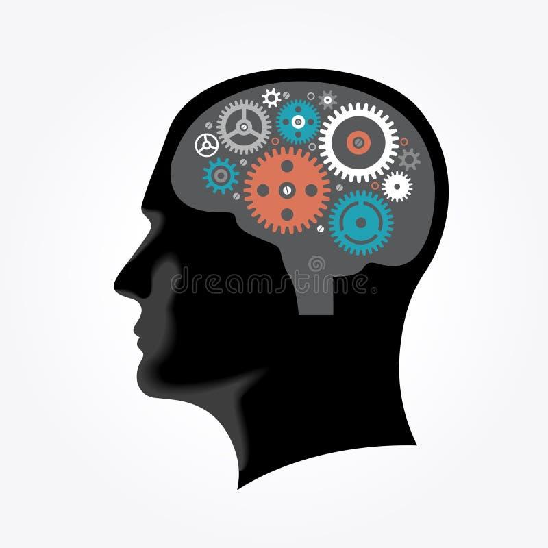Sylwetka mężczyzna ` s głowa z przekładniami w formie mózg royalty ilustracja