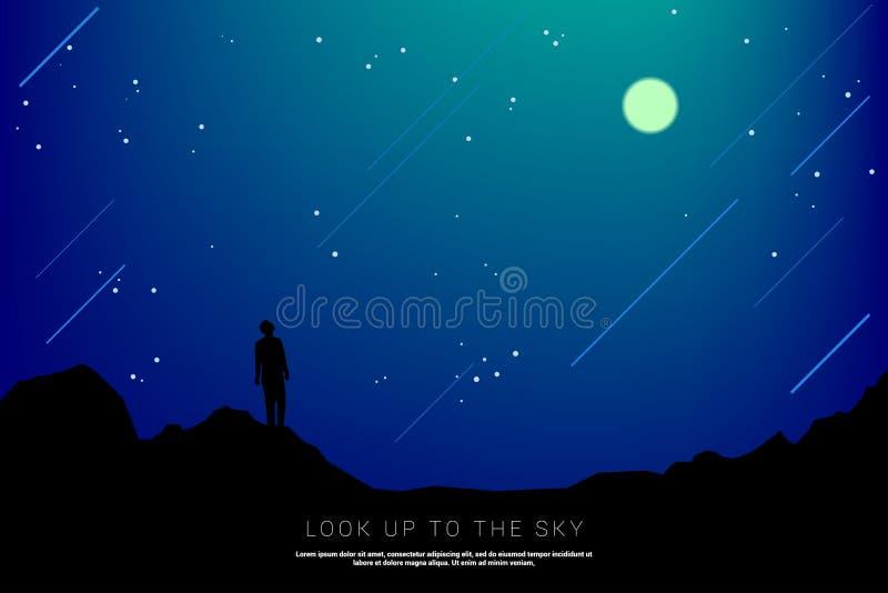 Sylwetka mężczyzna spojrzenie do nieba w gwiaździstej nocy: ilustracja wektor