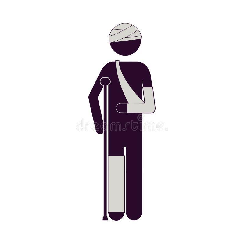 Sylwetka mężczyzna z bandażami i szczudłami ilustracji