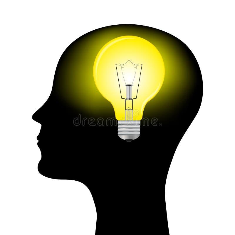 Sylwetka Mężczyzna Z Kierowniczą Lampą Obrazy Royalty Free