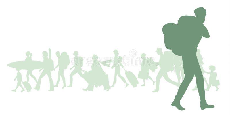 Sylwetka mężczyzna z plecakiem Grupa różnorodni podróżnicy w tle ilustracji