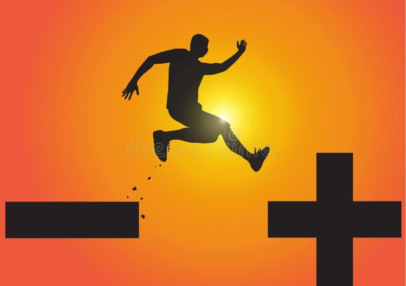 Sylwetka mężczyzny doskakiwanie minus od znaka plus znak na złotym wschód słońca tle, pesymistyczna optymistycznie pojęcie ilustracja wektor