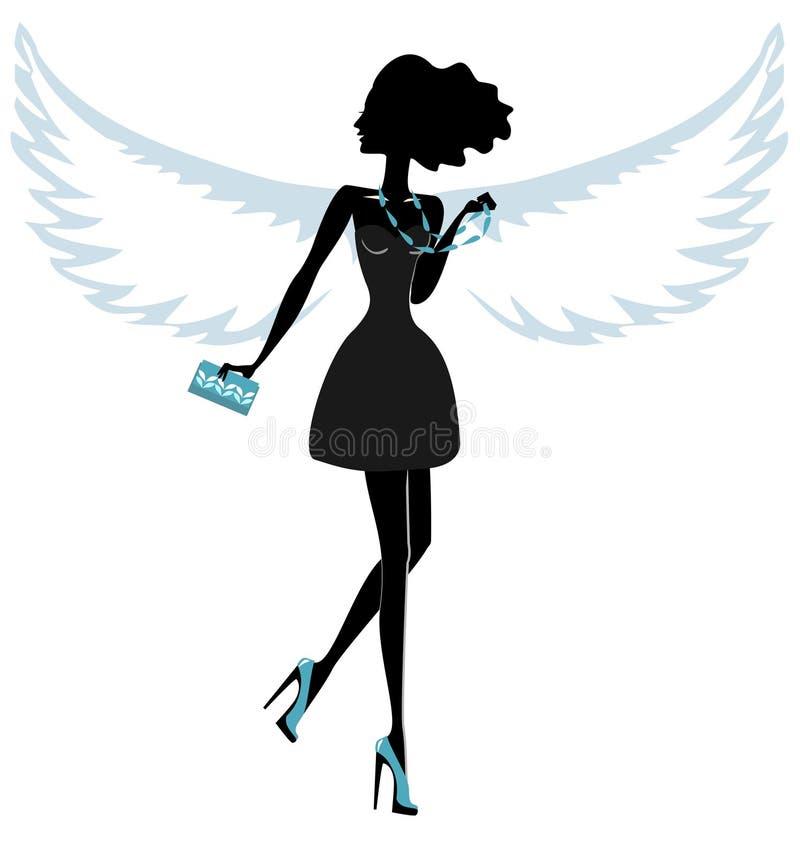 Sylwetka młoda kobieta z aniołów skrzydłami royalty ilustracja