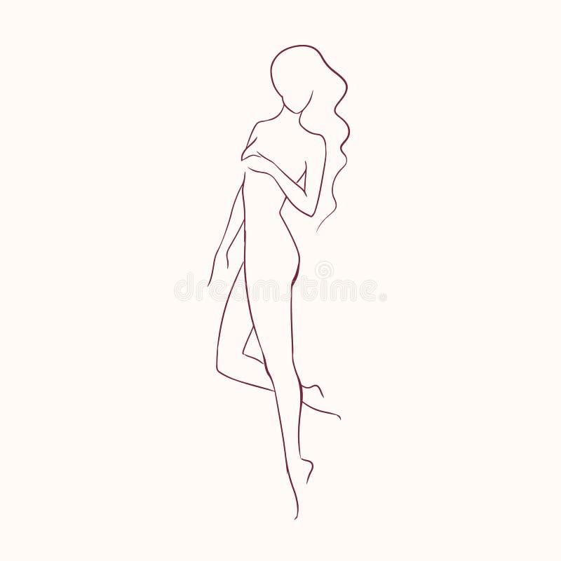 Sylwetka młoda piękna długowłosa naga kobieta z szczupłą postaci ręką rysującą z konturowymi liniami Kontur kobieta ilustracji