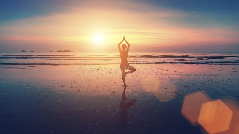 Sylwetka młodej kobiety ćwiczy joga na plaży zdjęcie royalty free