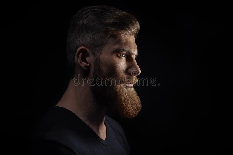 Sylwetka młody brodaty mężczyzna modniś zdjęcia stock
