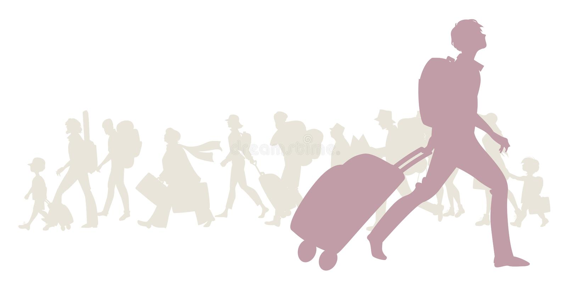 Sylwetka młody człowiek z plecakiem i tramwajem royalty ilustracja