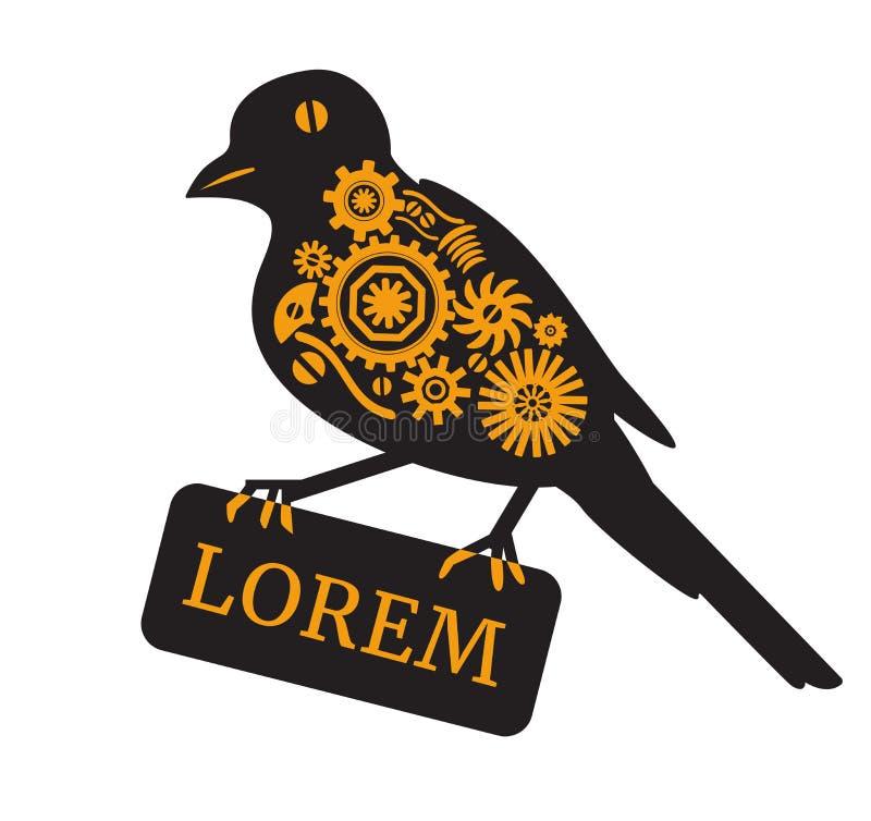 Sylwetka machinalny ptak Steampunk styl obrazy royalty free